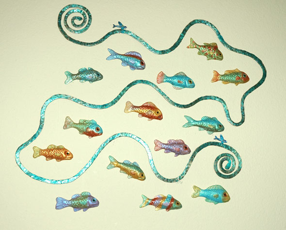 'Joy To The Fishes', copper and polymer clay